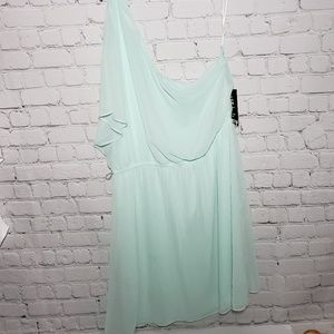 Express Mint Green One Shoulder Dress